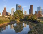 A View Buffalo Bayou and Downtown Houston, Texas