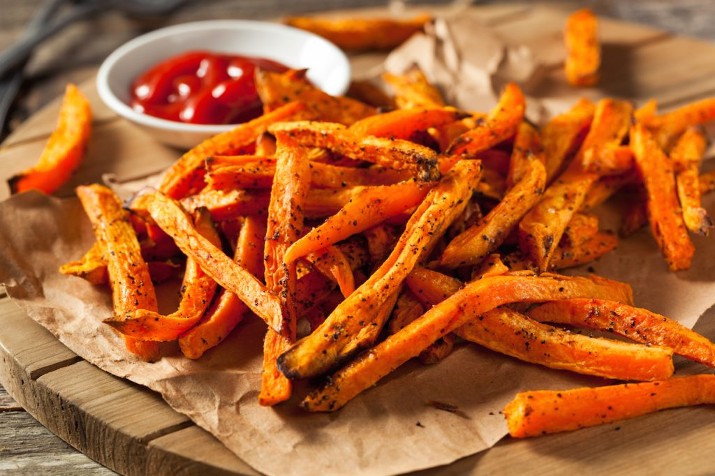 Baked Sweet Potato Fries with Ketchup