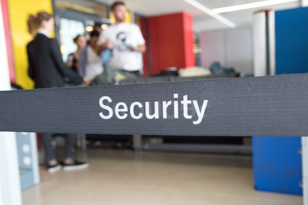 Security check of luggage and passengers in airport