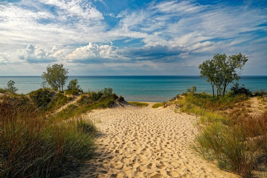 blue skies, green fields, warm sand, and crystal clear water in Indiana Dunes beach