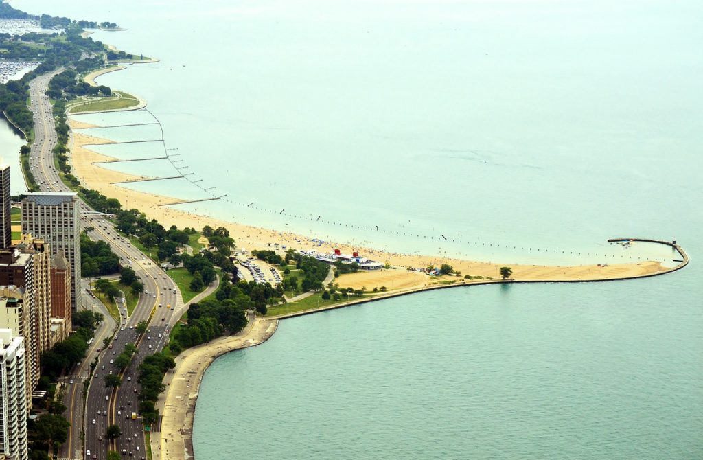 Sky view of North Avenue Beach